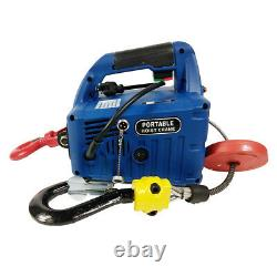 110V Wire-controlled Portable Household Electric Winch 992.08 lb X 24.93 ft