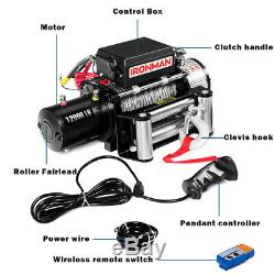 12000 lbs 12V Electric Recovery Winch Truck SUV Wireless Remote Control IP67