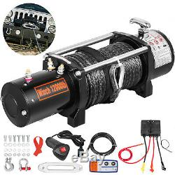 12000lbs Electric Recovery Winch Truck SUV Durable Remote Control 4WD Synthetic