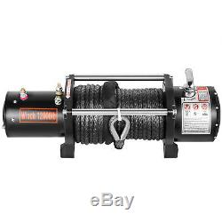 12000lbs Electric Winch 12V 90FT Synthetic Rope 4WD Waterproof Truck Trailer