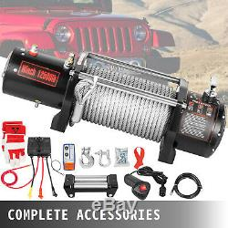 12500LBS 12V Electric Winch Steel Cable 65FT Truck Trailer Towing Off-Road ATV