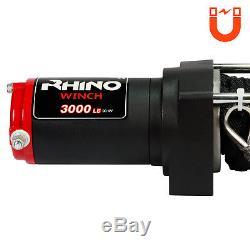 12v Electric Winch 3000lb Dyneema Synthetic Rope ATV, Off Road RHINO BLACK
