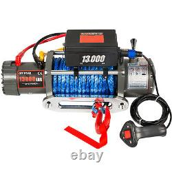 13000LBS Electric Winch 12V Synthetic Rope Off-road ATV UTV Truck Towing Trailer