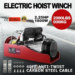 2000LB Electric Hoist Winch Hoist Crane Lift withRemote Control double-hook Safety