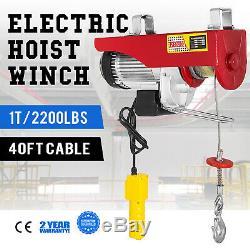 2200 LB Electric Wire Hoist Winch Hoist Crane Lift 110V 40 ft Remote Control