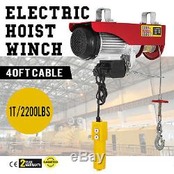 2200lb Mini Electric Wire Cable Hoist Winch Crane Lift Overhead + Remote Control