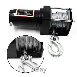 24V 2500LB Electric Winch ATV UTV Wild Vehicles Synthetic Rope Boat Steel Cable