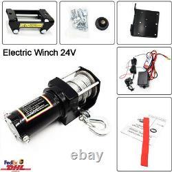 24V 3000LB Electric Winch Steel Cable ATV UTV Off-road Car Quad Wireless Remote