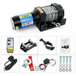 3500LBS Electric Winch Offroad Wireless Remote Waterproof Boat Steel Cable Kits