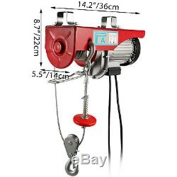 440Lbs Electric Hoist Winch Lifting Engine Crane Remote Control Cable Hanging
