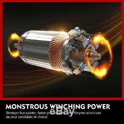 4500LBS Electric Winch Synthetic Rope withRemote Control for Offroad Boat ATV UTV