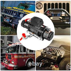 9500LBS Electric Winch 12V Synthetic Cable Truck Trailer Towing Off-Road 4WD