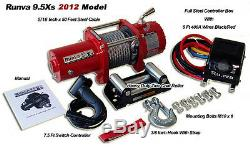 9500lb New Runva Off-Road 12V Towing Recovery Electric Winch Kit With Short Drum