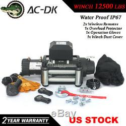 AC-DK 12V Black IP67 Electric Winch 12500 lb With Steel Rope and Winch Cover