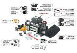 AC-DK 12V Black IP67 Electric Winch 13500 lb With Steel Rope and Winch Cover