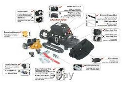 AC-DK 12V Black IP67 Electric Winch 9500 lb With Synthetic Rope and Winch Cover