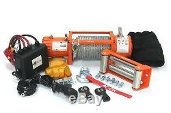AC-DK 12V Electric Winch 13500lbs Waterproof IP67 with steel rope for recovery