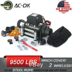 AC-DK 12V Electric Winch 9500 lbs Waterproof Truck SUV Wireless Remote Control