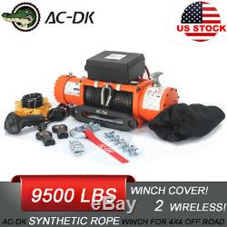 AC-DK 12V Electric Winch 9500lb Waterproof IP67 with synthetic rope for recovery