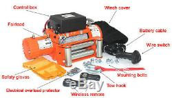AC-DK 12V Electric Winch 9500lbs Waterproof IP67 with steel rope for recovery