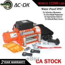AC-DK 12V Orange Electric Winch 12500 lbs Waterproof IP67 With Steel Wire Rope