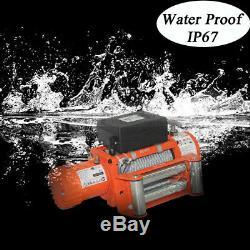 AC-DK 12V Orange Electric Winch 12500lb Waterproof IP67 With Steel Wire Rope