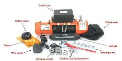 AC-DK 12V Orange Electric Winch 9500lb Waterproof IP67 With Synthetic Rope