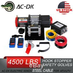 AC-DK 4500LBS 12V Electric Winch Steel Cable Towing Truck Off Road ATV Winch
