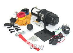 AC-DK 4500 lb ATV UTV Electric Winch 12V with Synthetic Rope and Hook Stopper