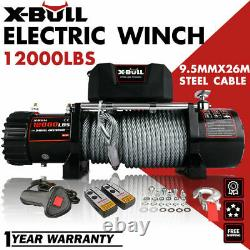 AX-BULL Electric Winch 12000LBS 12V Steel Cable Truck Trailer Towing Off Road