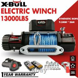 A X-BULL 12V 13000LBS Electric Winch Synthetic Rope Jeep Towing Truck Off Road