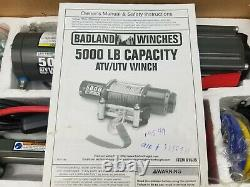 BADLAND 5000 lb ATV UTV Utility Electric Winch with Remote Control 61384