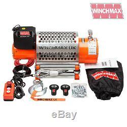 ELECTRIC WINCH 24V RECOVERY 4x4 20000 lb WINCHMAX ORIGINAL ORANGE WINCH REMOTE