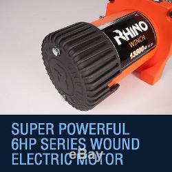 Electric Recovery Winch 12v 13500lb 4x4 Dyneema Rope RHINO + Mounting Plate