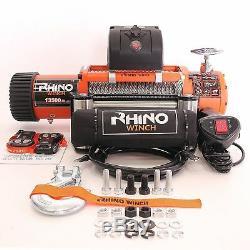 Electric Recovery Winch 12v / 24v 13500lb RHINO, Wireless 4x4 Car Heavy Duty