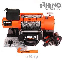 Electric Recovery Winch 20000lb 12v / 24v 4x4 Truck RHINO WINCH + Mounting Plate