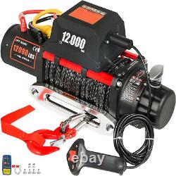 Electric Winch 12000LBS 12V Synthetic Cable Truck Trailer Towing Off Road 4WD