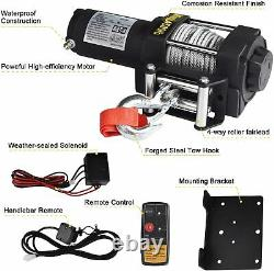 Electric Winch, 12V 4500lbs Single Line Waterproof Towing Winch for ATV UTV, wit