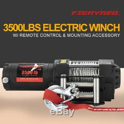 Electric Winch Waterproof 3500LBS Steel Cable Line with Remote Control for ATV UTE