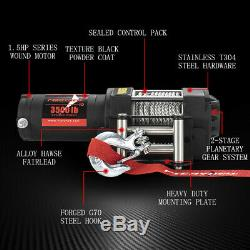 FieryRed Offroad 3500LB Electric Winch for ATV UTE with Steel Cable Remote Control