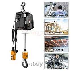 New 220-1100LBS Electric Wire Hoist Winch Hoist Crane Lift Remote Control 220V