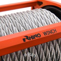 Rhino 12v 17500lb Heavy Duty Steel Cable, 4x4, Truck Electric Recovery Winch