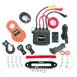 Rhino Electric Recovery Winch 12v 13500lb Carbon 4x4 Synthetic + Mounting Plate