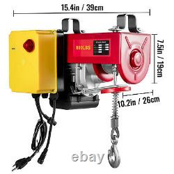 VEVOR Electric Hoist 110V Electric Winch 880LBS with Wireless Remote Control