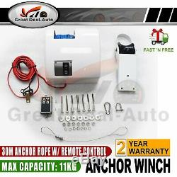 White Saltwater Electric Anchor Winch Set Boat Winch with Remote Control 45LBS