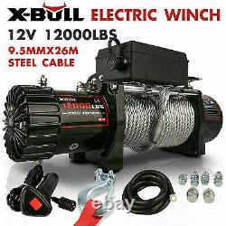X-BULL 12V 12000LBS Electric Winch Steel Cable Truck Trailer Towing Off Road 4WD