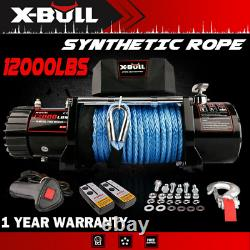 X-BULL 12V 12000lbs Electric Winch Synthetic Blue Rope Off Road Jeep Truck 4WD