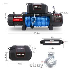 X-BULL 12V 13000LBS Electric Winch Synthetic Rope Jeep Towing Truck Off-Road 4WD