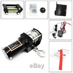 12v / 24v Portable Treuil Électrique Vtt Utv 4 Roues Motrices À Distance Synthétique Corde 2500lb-4500lb