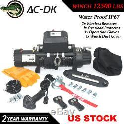12v Ac-dk Noir Ip67 Treuil Électrique 12500 Lbs Corde Synthétique Et Winch Cover